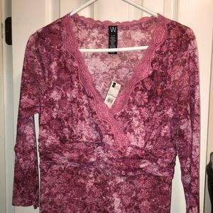 Cranberry JC Penney Worthington Tunic dress shirt